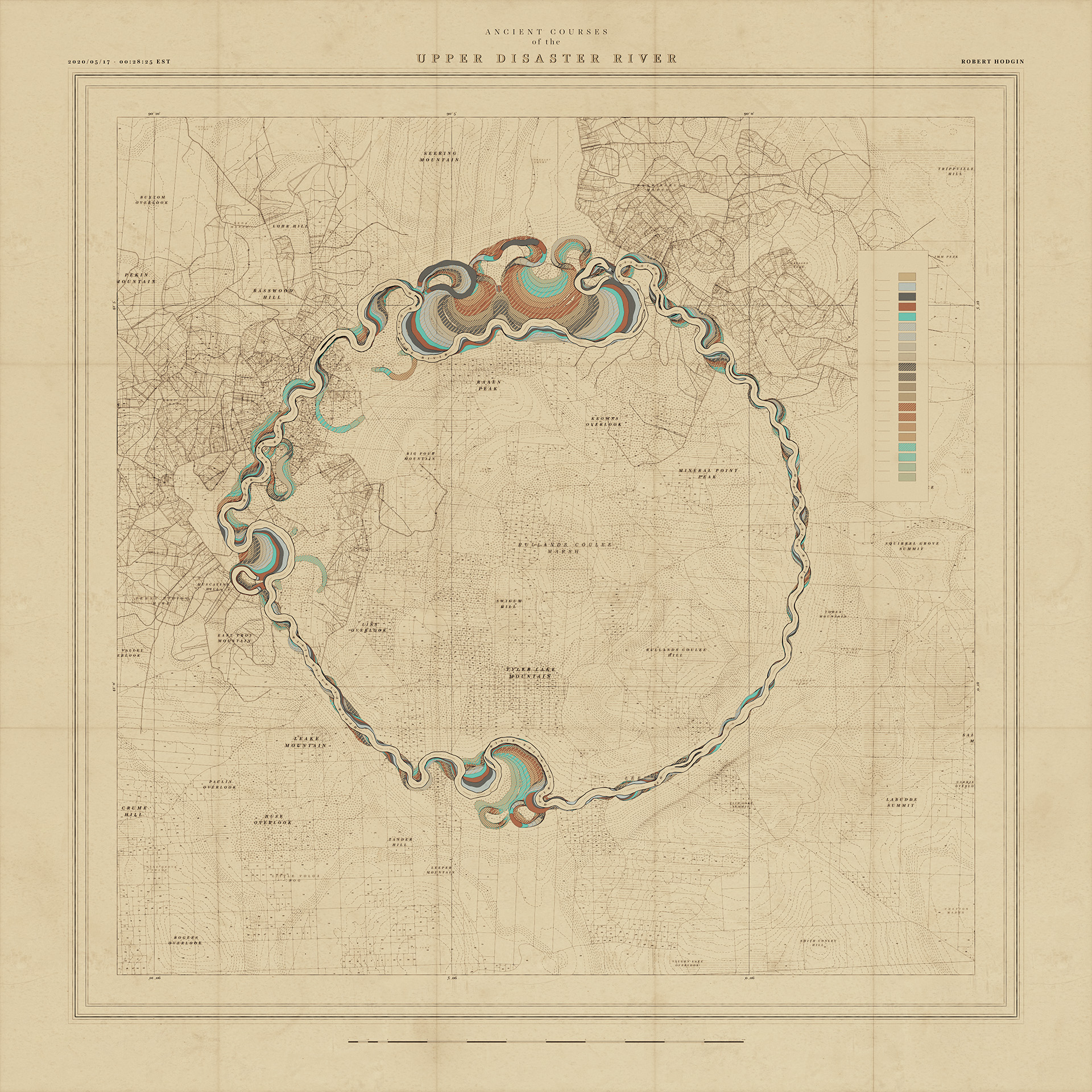 """A map of a nonexistent object, title """"Upper Disaster River"""""""